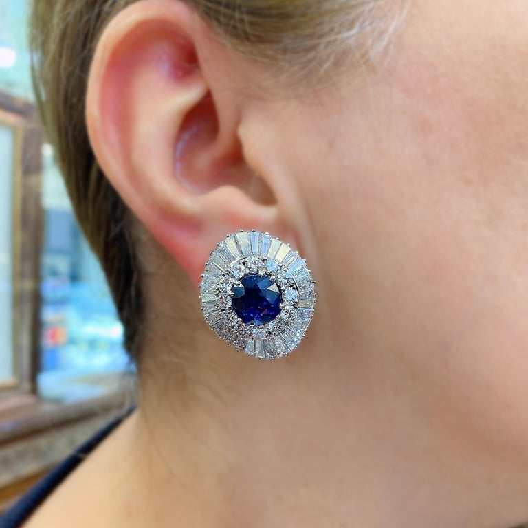 Cushion Cut Ceylon Cushion Blue Sapphire Tapered Baguette Round Diamond Platinum Earrings For Sale