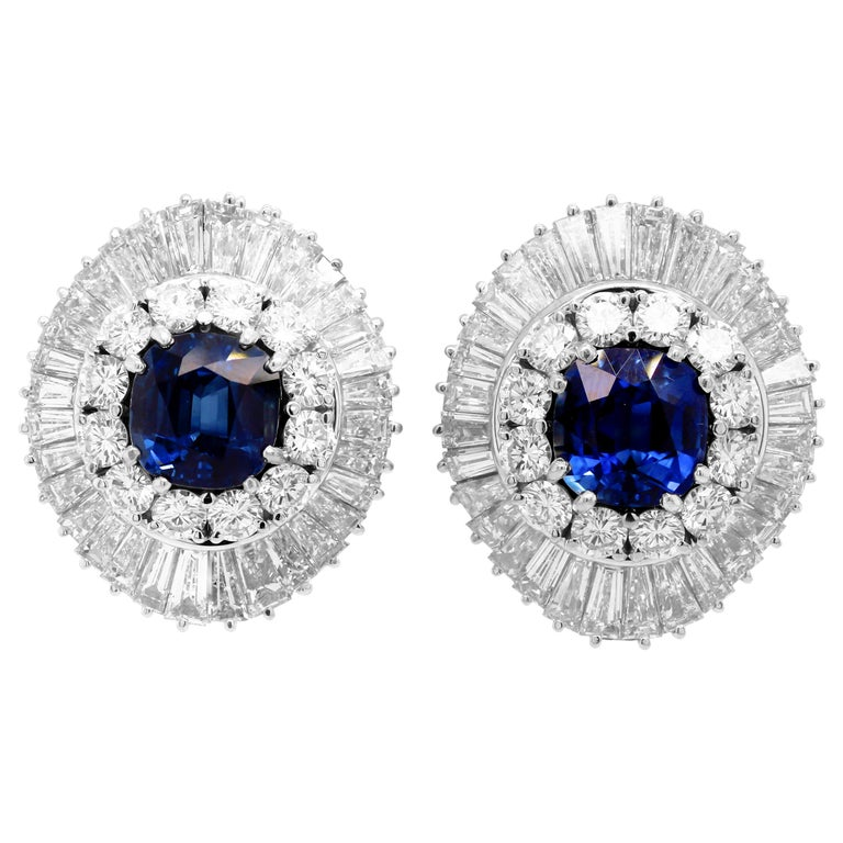 Ceylon Cushion Blue Sapphire Tapered Baguette Round Diamond Platinum Earrings For Sale