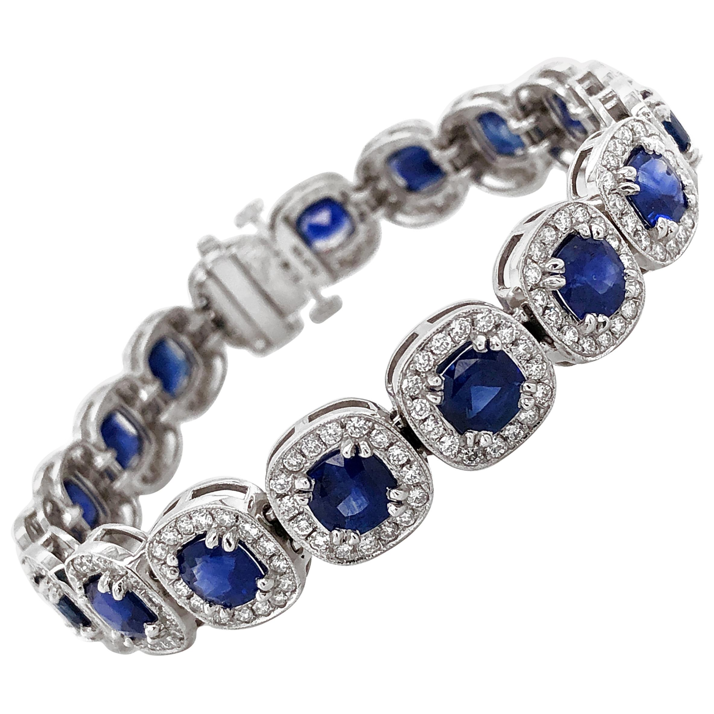Ceylon Cushion Cut Sapphires 15.18 Carat Diamond Platinum Link Bracelet