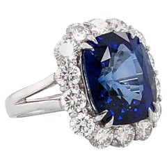 Ceylon Cushion Sapphire 12.28 Carat Diamonds Platinum Cocktail Engagement Ring