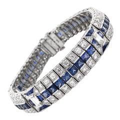 Ceylon French Square Cut Sapphires 14.38 Carat Diamond Platinum Link Bracelet