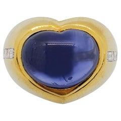 Ceylon GIA Blue Sapphire Cabochon Heart and Diamond Ring in 18 Karat Yellow Gold