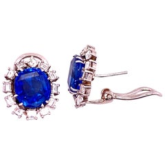 Ceylon No Heat Blue Cushion Cut Sapphire Diamond Earrings