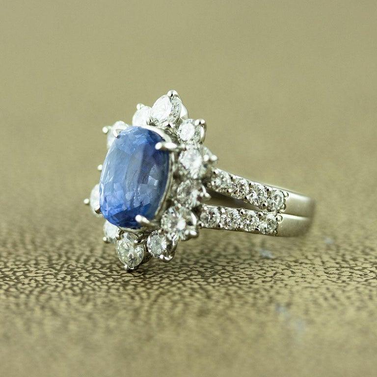 Oval Cut Ceylon No-Heat Blue Sapphire Diamond Platinum Ring, GIA Certified For Sale