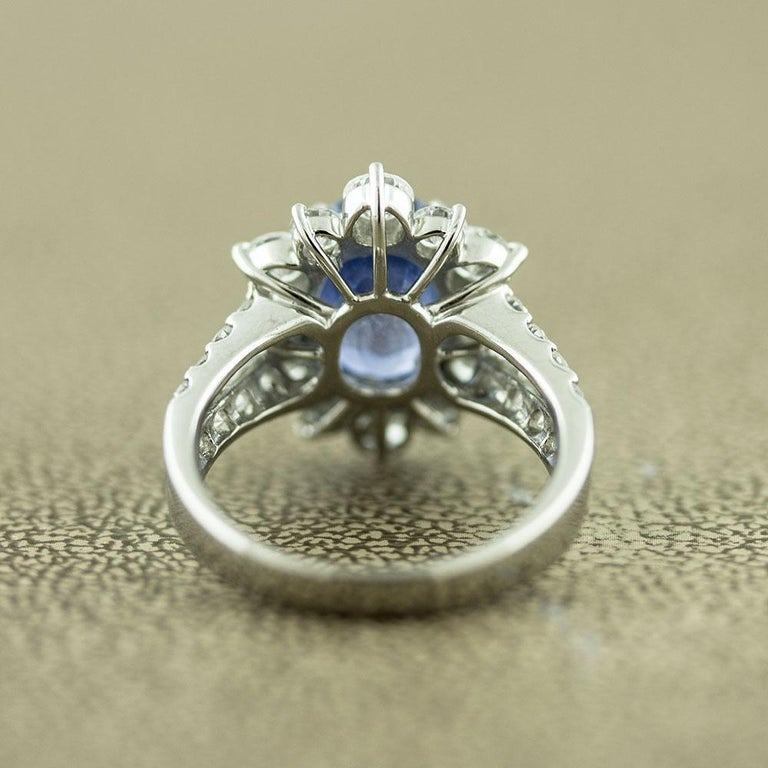 Women's Ceylon No-Heat Blue Sapphire Diamond Platinum Ring, GIA Certified For Sale