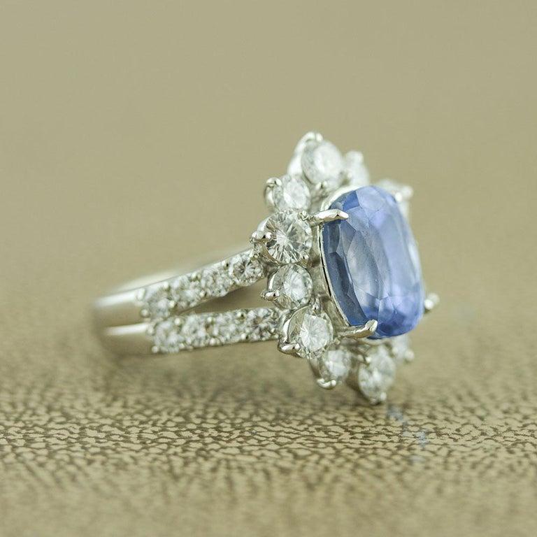 Ceylon No-Heat Blue Sapphire Diamond Platinum Ring, GIA Certified For Sale 1