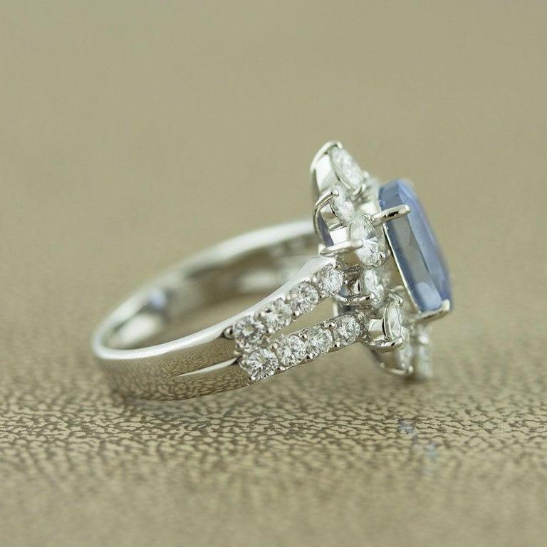 Ceylon No-Heat Blue Sapphire Diamond Platinum Ring, GIA Certified For Sale 2
