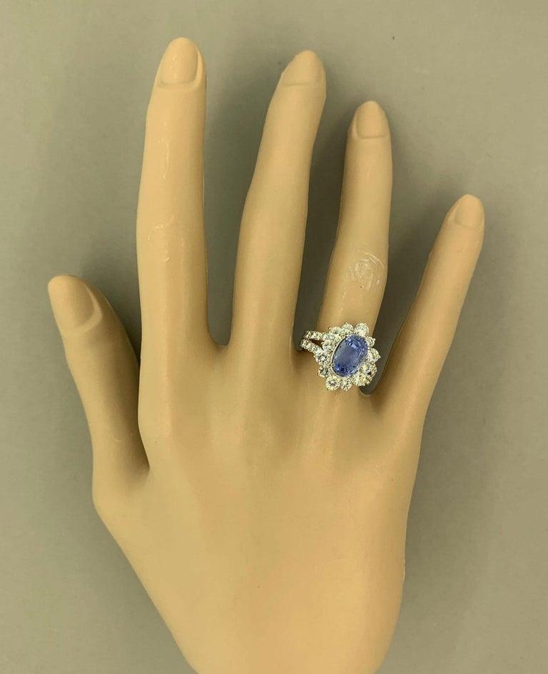 Ceylon No-Heat Blue Sapphire Diamond Platinum Ring, GIA Certified For Sale 3