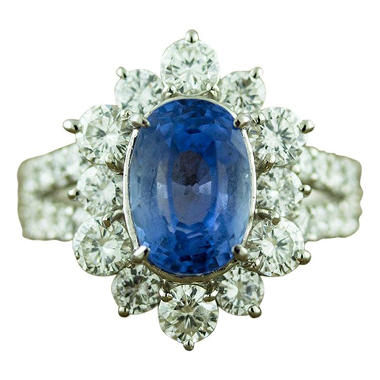 Ceylon No-Heat Blue Sapphire Diamond Platinum Ring, GIA Certified For Sale