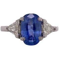 Ceylon No Heat Oval Sapphire Diamond Platinum Cocktail Ring