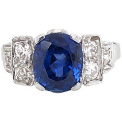 Ceylon Oval Cut Sapphire 4.27 Carat Diamond 0.42 Carat Total Platinum Ring