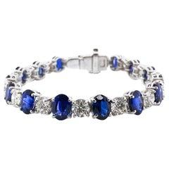 Ceylon Oval Sapphires 19.44 Carat Round Diamond Platinum Bracelet