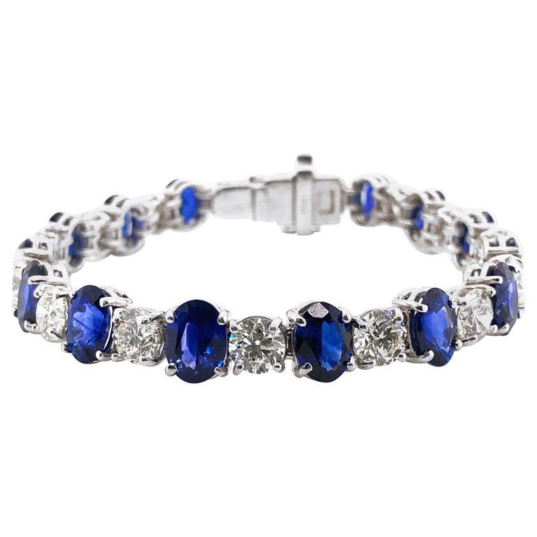 Ceylon oval sapphires 19.44 carat round diamonds platinum bracelet For Sale