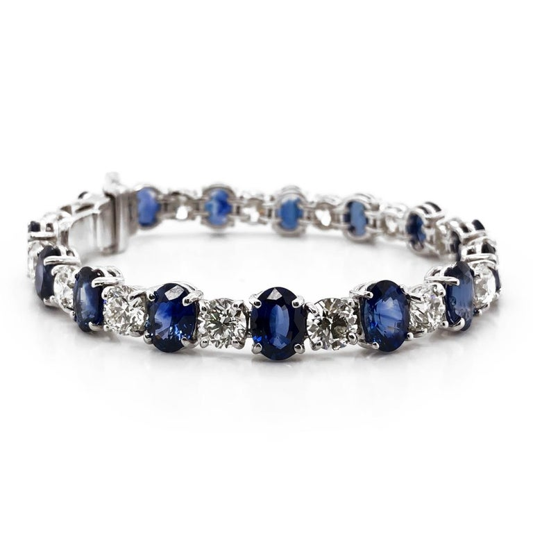 Oval Cut Ceylon oval sapphires 19.44 carat round diamonds platinum bracelet For Sale