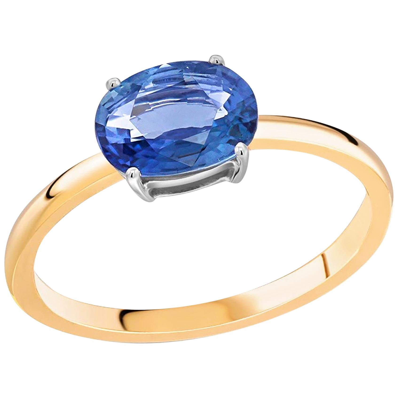 Ceylon Oval Shaped Sapphire White and Yellow Gold Solitaire Cocktail Ring