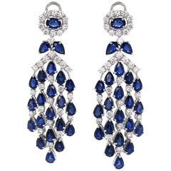 Ceylon Pear Oval Cut Sapphires 22.84 Carat Diamonds Platinum Earrings
