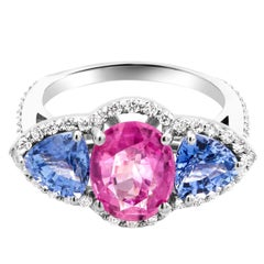 Ceylon Pink Cushion and Trillion Blue Sapphires Diamond Cocktail Cluster Ring