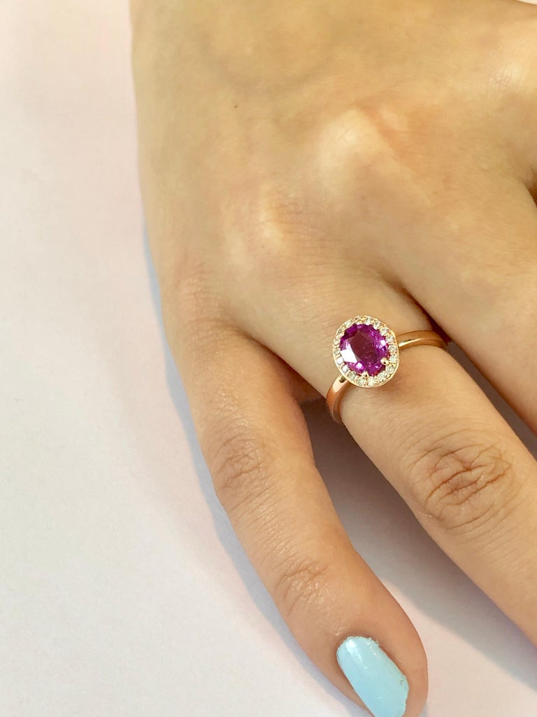 OGI Ceylon Pink Sapphire and Diamond Rose Gold Cocktail Cluster Ring For Sale 1