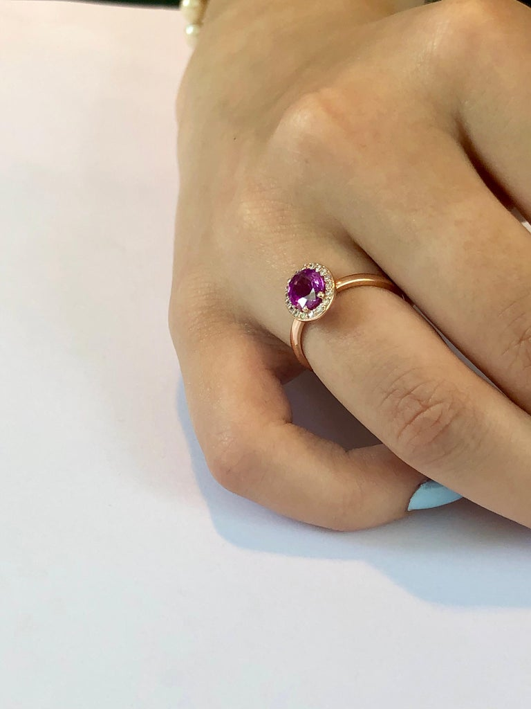 OGI Ceylon Pink Sapphire and Diamond Rose Gold Cocktail Cluster Ring For Sale 3