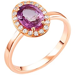 OGI Ceylon Pink Sapphire and Diamond Rose Gold Cocktail Cluster Ring