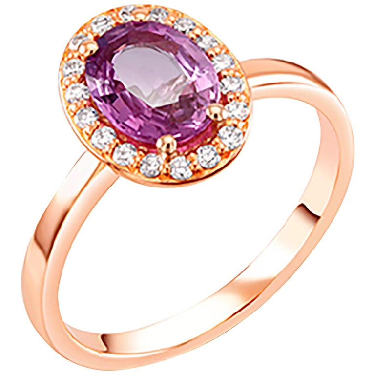 OGI Ceylon Pink Sapphire and Diamond Rose Gold Cocktail Cluster Ring For Sale
