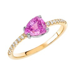 Ceylon Pink Sapphire and Diamond White and Yellow Gold Cocktail Cluster Ring