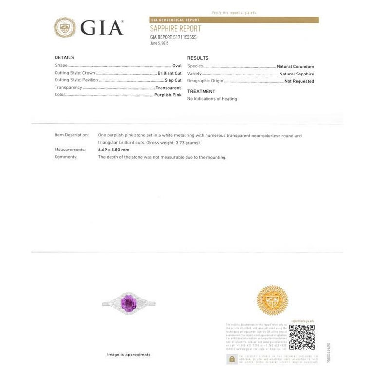 Eighteen karats white gold ring GIA certified 1.22 carat Ceylon pink sapphire  No indication of heat Match pair of trillion diamond weighing 0.25  Pave-set diamonds weighing 0.40 carats   Diamond quality G VS. GIA certificate 5171153555 New ring