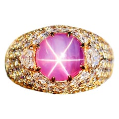 Ceylon Pink Star Sapphire and Diamond Ring