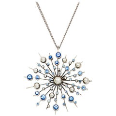 Ceylon Sapphire 9 Karat Rose White Soleil Pendant Chain Necklace Natalie Barney