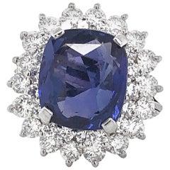 Ceylon Sapphire 9.47 Carat Diamond 0.32 Carat Total Platinum Ring