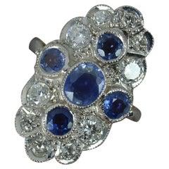 Ceylon Sapphire and 1 Carat Diamond 18 Carat Gold Cluster Panel Ring