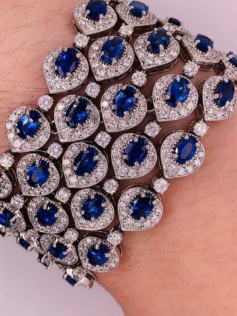 Ceylon Sapphire and Diamond Bracelet For Sale 1