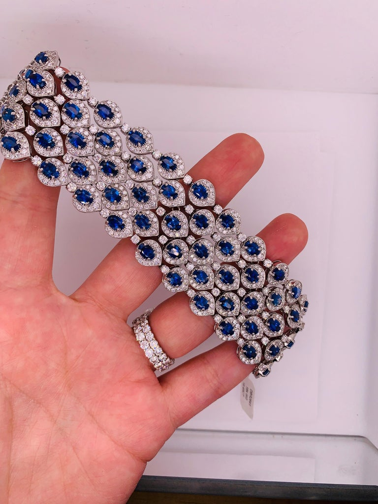 Ceylon Sapphire and Diamond Bracelet For Sale 2