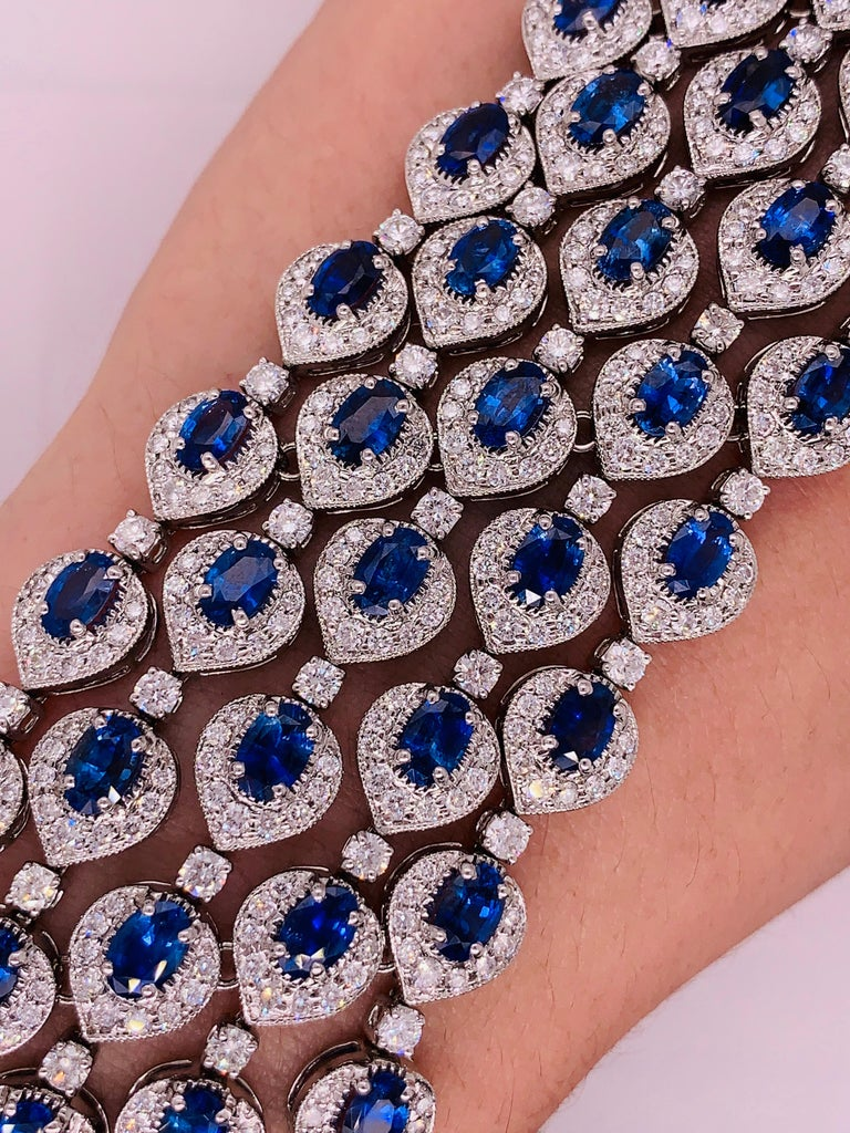 Ceylon Sapphire and Diamond Bracelet For Sale 4
