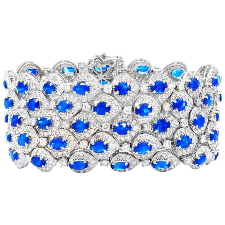 Ceylon Sapphire and Diamond Bracelet For Sale