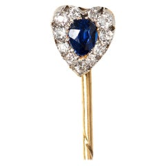 Heart Shaped Tie or Lapel Pin with Ceylon Sapphire & Diamond, English circa 1880