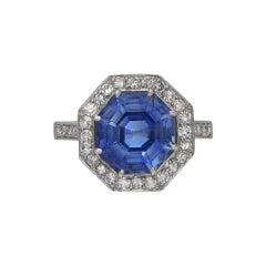 Ceylon Sapphire and Diamond Coronet Cluster Ring, circa 1950