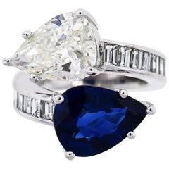 Ceylon Sapphire and Diamond Platinum Bypass Ring