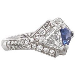 Ceylon Sapphire and Diamond Twin Combination Platinum Ring