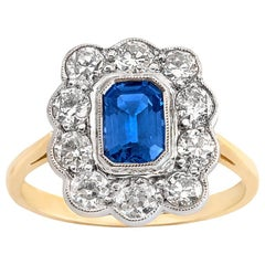 Ceylon Sapphire and Old Cut Diamond Scalloped Cluster Ring in Platinum and 18ct