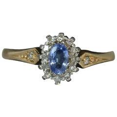 Ceylon Sapphire and Diamond 9 Carat Gold Cluster Ring