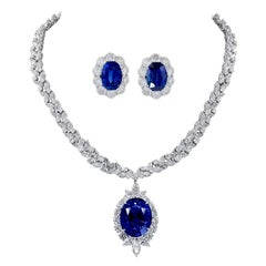 Ceylon Sapphire, Diamond Earrings and Necklace