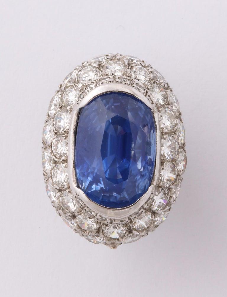 Women's Ceylon Sapphire Diamond Platinum Earrings For Sale
