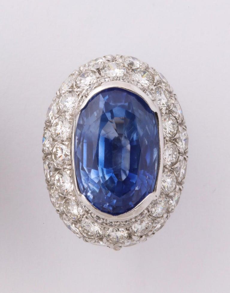 Ceylon Sapphire Diamond Platinum Earrings For Sale 1