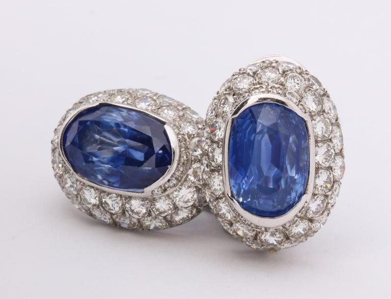 Ceylon Sapphire Diamond Platinum Earrings For Sale 3
