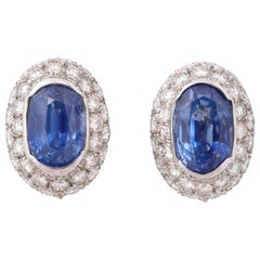 Ceylon Sapphire Diamond Platinum Earrings