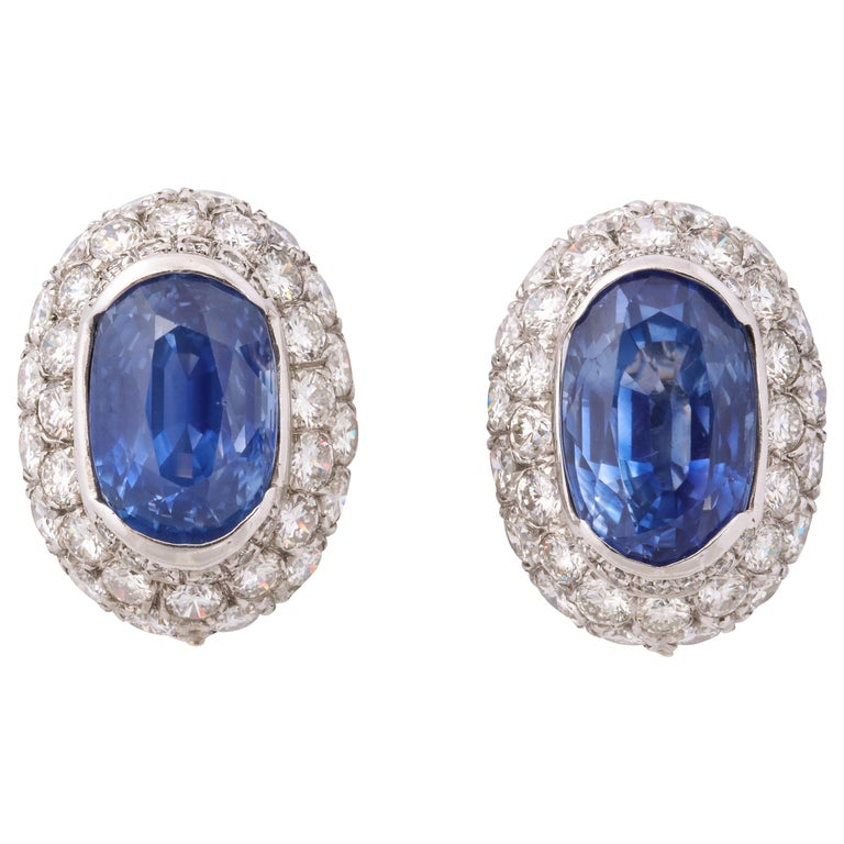 Ceylon Sapphire Diamond Platinum Earrings For Sale