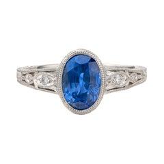 Ceylon Sapphire, Diamond & Platinum Ring