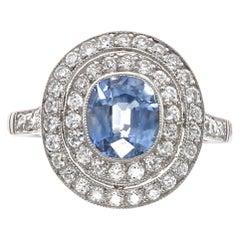 Ceylon Sapphire Diamond Platinum Ring