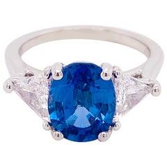 Ceylon Sapphire Diamond Ring, Platinum, Blue Sapphire, Three-Stone Ring